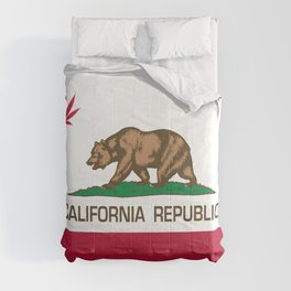 California Republic state flag with red Cannabis leaf Comforters