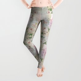 Romantic vintage roses and French handwriting Leggings