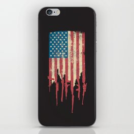 Distressed United States of America USA Flag Grunge Guns iPhone Skin