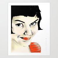 amelie Art Prints featuring Amelie by Bubble Trump Ltd