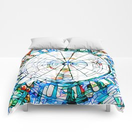 Glass stain mosaic 5 - circle Comforters