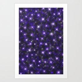 Ultra Violet Stars in a Purple Galaxy Art Print