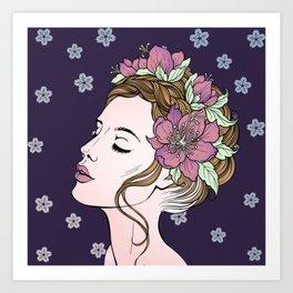 Flower Crown Girl Art Print