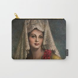 Spanish Beauty with Lace Mantilla and Comb by Jesus Helguera Carry-All Pouch