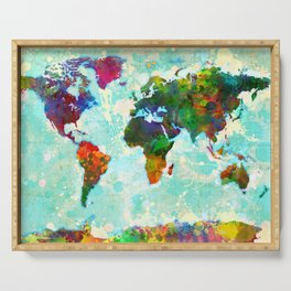 Abstract Map of the World Serving Tray