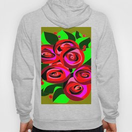 A Bouquet of Roses with Black Petals and Buds of Red Hoody