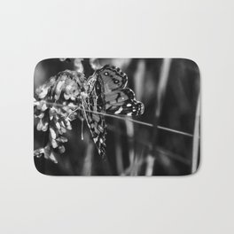 American Lady Butterfly in Black and White Bath Mat