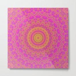 Pink, Orange, and Yellow Kaleidoscope 1 Metal Print