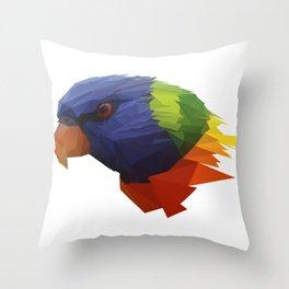 Low Poly Parrot Throw Pillow