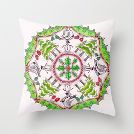 Winter Wreath Mandala Throw Pillow
