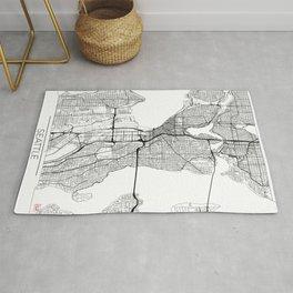 Seattle Map White Rug