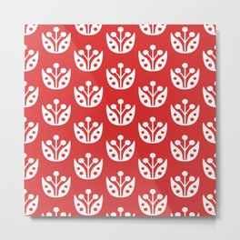 Mid Century Modern Abstract Flower Pattern 821 Red Metal Print