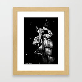 The old contrabass player Framed Art Print