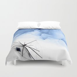 Blue Abstract Painting, Windmill Photography Duvet Cover
