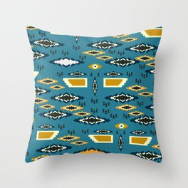 Little ethnic shapes in blue Throw Pillow