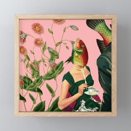 fish soul mate pink #collage Framed Mini Art Print