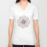 buddhism V-neck T-shirts featuring Daisy Lotus Meditation by DebS Digs Photo Art