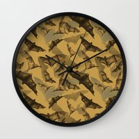 bats Wall Clocks featuring Bats by Deborah Panesar Illustration