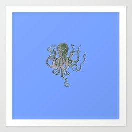 Vintage Octopus Periwinkle Art Print