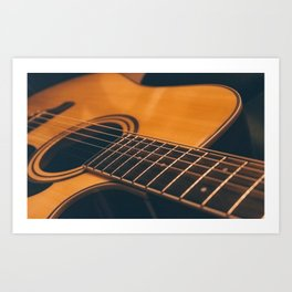 Acoustic guitar closeup Art Print