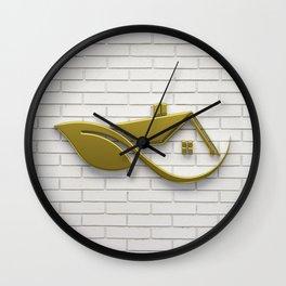 Golden Eco Friendly House Wall Clock
