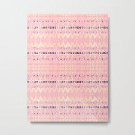 Pink Pattern Triangle Art Metal Print