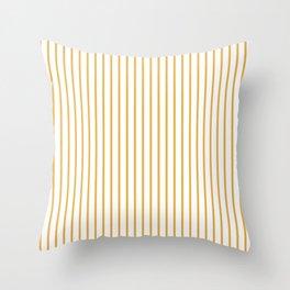 Marigold Yellow Pinstripe on White Throw Pillow