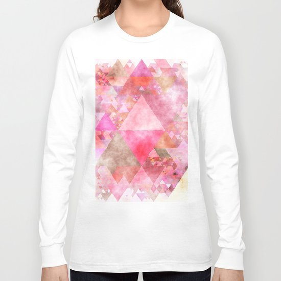 Pink triangles - Abstract elegant watercolor pattern Long Sleeve T-shirt