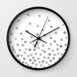 STARS SILVER Wall Clock
