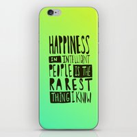 hemingway iPhone & iPod Skins featuring Hemingway: Happiness by Leah Flores