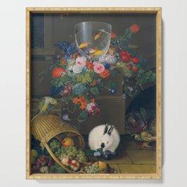 Still life with fishbowl, Johann Knapp, 1810 Serving Tray