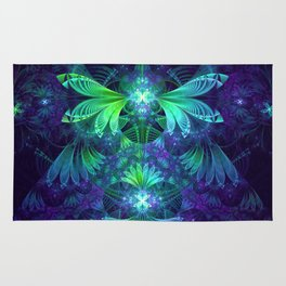 The Clockwork Kite Wings of a Blue-Green Dragonfly Rug