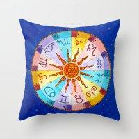 zodiac Throw Pillows featuring Zodiac by Sandra Nascimento