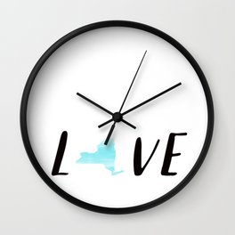 New York Love : Blue Watercolor Wall Clock