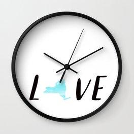 New York Love : Blue Watercolor Wall Clock
