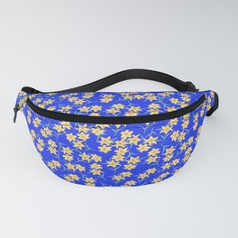 Yellow Lilies on Cornflower Blue Background Fanny Pack
