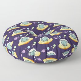 Pattern astronaut elephant: Galaxy mission Floor Pillow