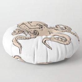 Hercules Fighting Giant Octopus Drawing Floor Pillow