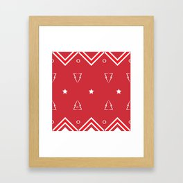 Christmas Tree Pattern #xms #holidays #festive #decor #red #white #kirovair Framed Art Print