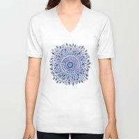 indigo V-neck T-shirts featuring Indigo Flowered Mandala by Janet Broxon