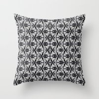 damask Throw Pillows featuring Black Damask  by Elena Indolfi