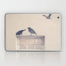 Let me be a bird in your window - vintage retro, beige cream, urban, black and white photography Laptop & iPad Skin