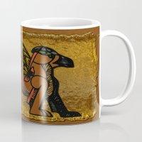 mythology Mugs featuring Gryphon New Age Mythology Folk Art by BohemianBound