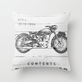 Vintage Triumph Thunderbird Motorcycle Throw Pillow