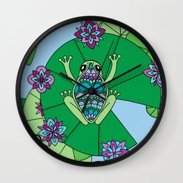 Frog and Lily Pads Wall Clock