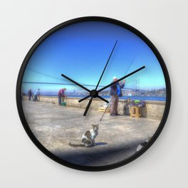 Fishermen And Cats Istanbul Wall Clock