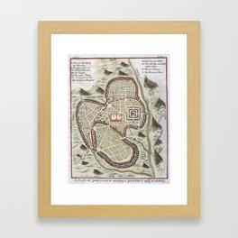 Vintage Map of Jerusalem Israel (1730) Framed Art Print