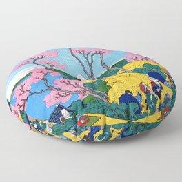 Mt,FUJI36view-Tokaido shinagawa goten mounten fuji view - Katsushika Hokusai Floor Pillow