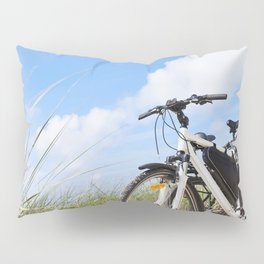 Bicycles tourists traveling in nature Pillow Sham