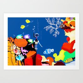 Corky the scuba-diver Art Print